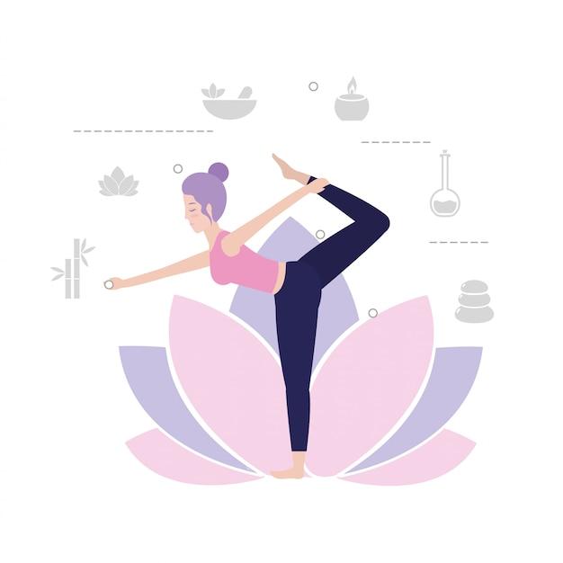 Mulher, prática, ioga, exercício, equilíbrio