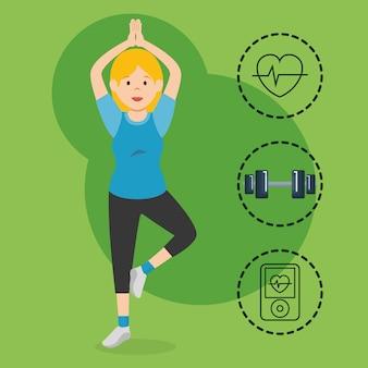 Mulher praticando exercice com ícones de esportes
