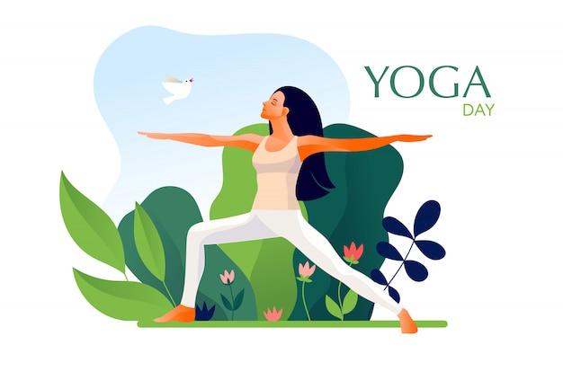 Mulher praticando exercícios de ioga, pose de ioga. dia internacional da ioga.