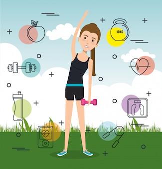 Mulher praticando exercícios ou esportes
