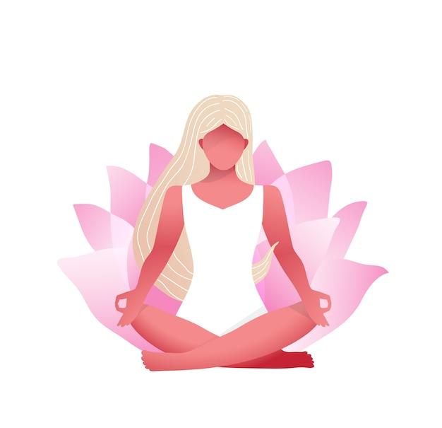 Mulher praticando ioga e meditação com flor de lótus