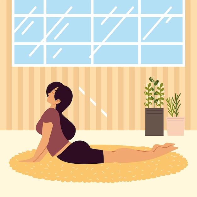 Mulher praticando ioga isolada