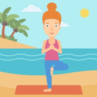Mulher praticando ioga.
