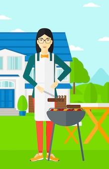 Mulher, preparar, churrasco