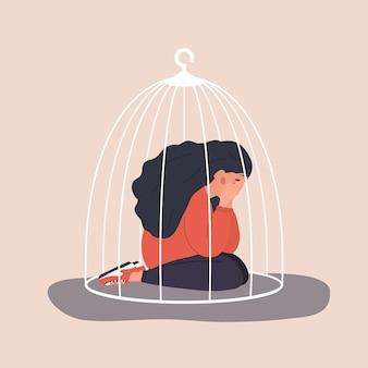 Mulher presa na jaula. adolescente triste sentado no chão e chorando. conceito de isolamento social.