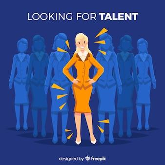 Mulher procurando fundo de talento