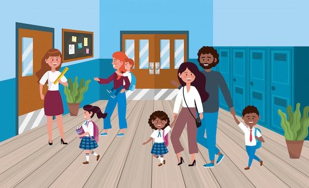 Mulher professora com mães e pai com os alunos