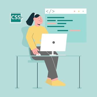 Mulher programadora com computador