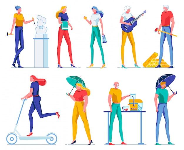 Mulher projetando escultura, garota com utensílios.