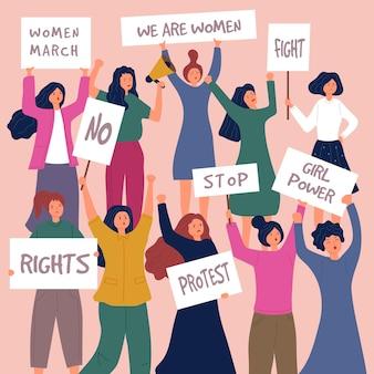 Mulher protesta personagens femininas jovens com cartazes ações políticas aglomeram as pessoas.