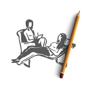 Mulher psicóloga desenhada à mão