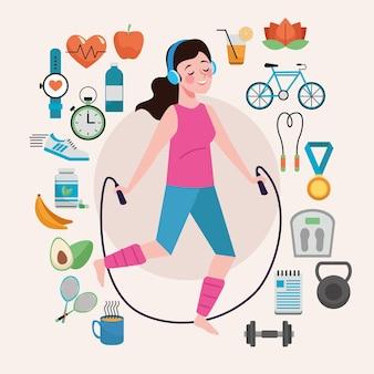 Mulher pulando corda com conjunto de elementos de estilo de vida saudável
