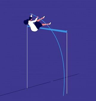Mulher pulando empresária supera obstáculos de carreira. investimento em risco progressivo do fluxo de trabalho. conceito de recursos humanos feminino