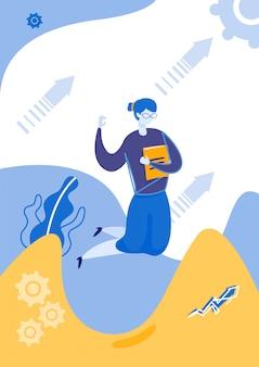 Mulher pulando segurando o livro ou pasta na mão.