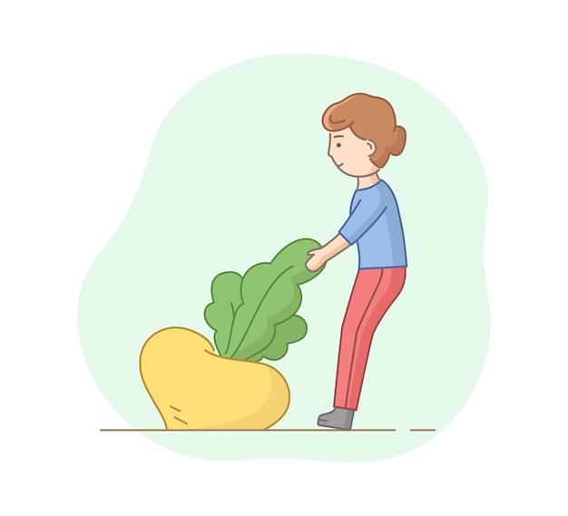 Mulher puxando um enorme nabo amarelo do chão. ilustração do vetor no estilo dos desenhos animados. objetos de contorno. colheita sazonal, cultivo e agricultura conceito de clip-art linear.