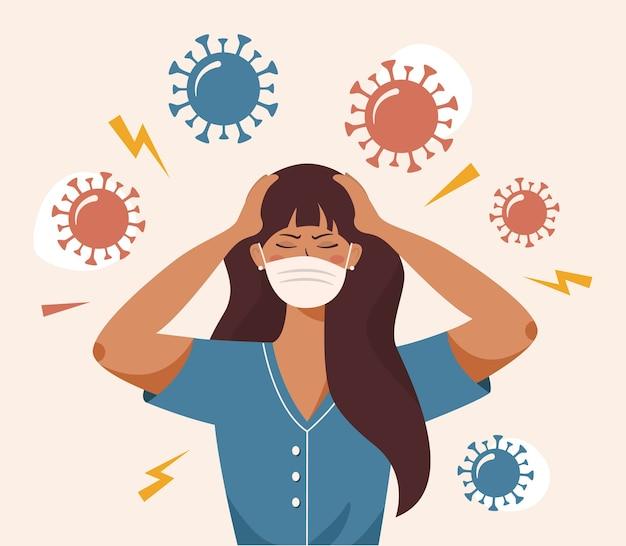 Mulher que agarra a cabeça com as duas mãos. estresse, pânico. irritação de coronavírus, mau humor