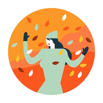 Mulher que aprecia com folhas de outono de queda.