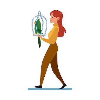 Mulher que carreg uma gaiola com uma ilustração lisa dos desenhos animados do papagaio isolada.