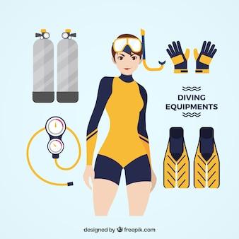 Mulher que desgasta a roupa de mergulho com acessórios de mergulho