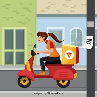 Mulher que entrega pizza no scooter