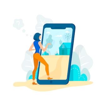 Mulher que está a tela móvel no app, olhando a página.