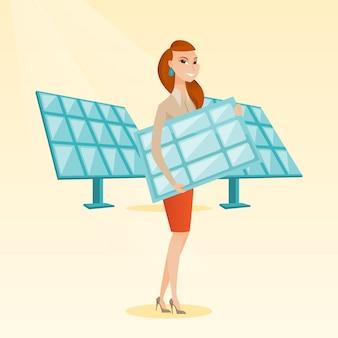 Mulher que guarda a ilustração do vetor do painel solar.