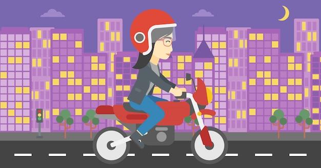 Mulher que monta a ilustração do vetor da motocicleta.