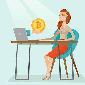 Mulher que obtem a moeda do bitcoin da troca do bitcoin.