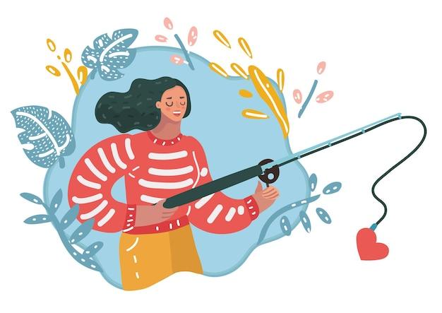 Mulher que procura o amor, menina usa vara de pescar