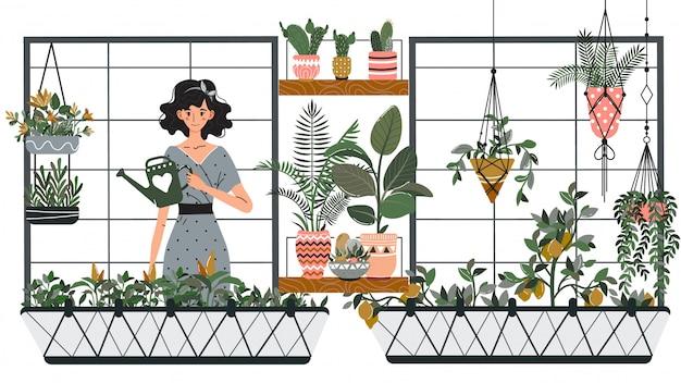 Mulher que rega plantas de casa na varanda, ilustração de passatempo de jardinagem