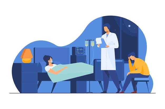 Mulher que sofre de doenças graves. paciente em suporte de vida, médico, ilustração plana de hospital