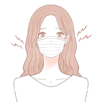 Mulher que sofre de fricção e inflamação causadas pelo uso de máscara. sobre um fundo branco.