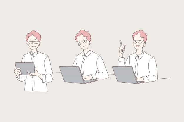 Mulher que trabalha com conjunto de ilustração de laptop