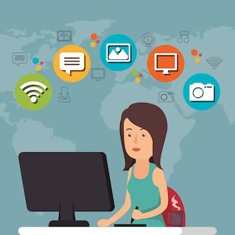 Mulher que trabalha com o ícone de mídia social