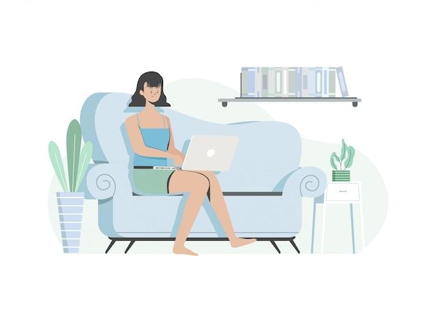 Mulher que trabalha com um laptop na sala de estar, trabalhando em casa, trabalha em casa. e ficar em casa. ilustração plana.