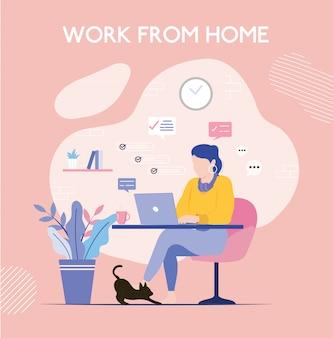 Mulher que trabalha em casa. conceito de negócio de escritório em casa.