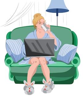Mulher que trabalha em casa em um laptop.