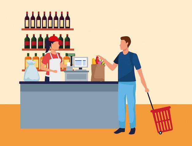 Mulher que trabalha na caixa registradora de supermercado com um cliente