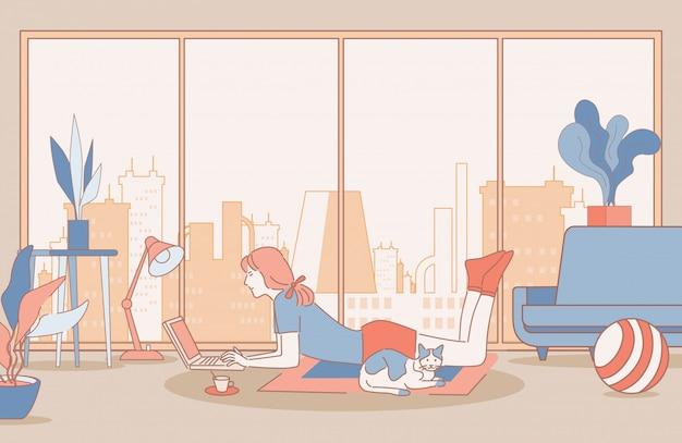 Mulher que trabalha na ilustração de contorno dos desenhos animados de laptop. trabalho remoto e a distância, conceito freelance.