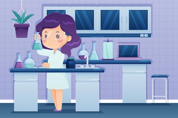 Mulher que trabalha no laboratório de ciências