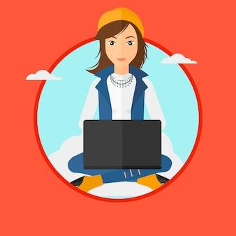 Mulher que usa a tecnologia de computação em nuvem.