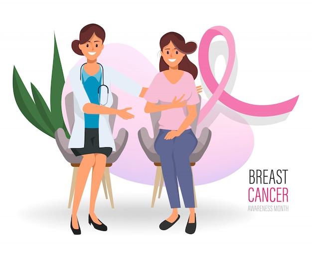 Mulher que verifica seus peitos com o doutor no international do dia do câncer da mama.