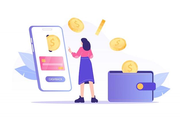 Mulher recebendo cashback on-line do smartphone