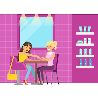 Mulher recebendo uma massagem de mão no salão de beleza. personagem de desenho animado colorido