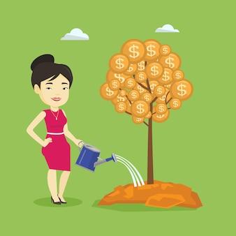Mulher regando a árvore do dinheiro.