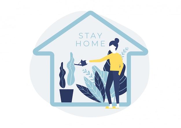 Mulher regando as plantas da casa. fique em casa, fique seguro.