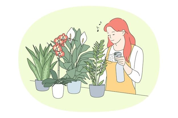 Mulher regando plantas verdes em vasos, cuidando