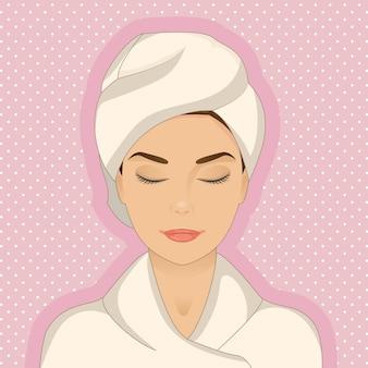 Mulher relaxada, vestindo roupão e toalha
