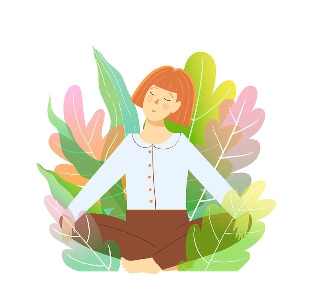 Mulher relaxando no jardim em posição de meditação de lótus, rodeada pela natureza.