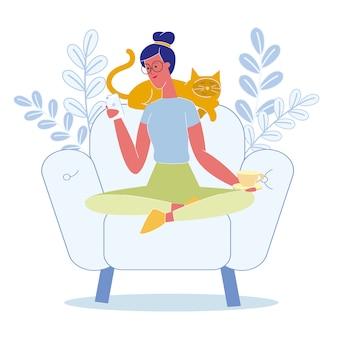 Mulher, relaxante, gato, apartamento, vetorial, ilustração